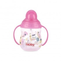 Nuby Pahar cu pai si manere Flip-it / Click - Lock / 360  Straw 270 ml +12